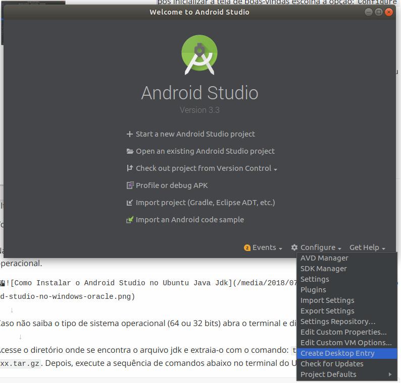 Como Criar Um Atalho Desktop do Android Studio no Ubuntu 01